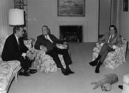 "President Richard Nixon with Bebe Rebozo (left) and J. Edgar Hoover (center) at the ""Florida White House"". Credit: National Archives."
